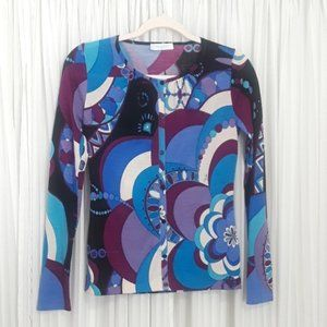 Emilio Pucci Abstract Long Sleeve Cardigan, US 6